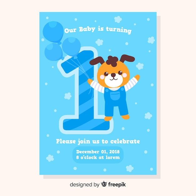 First birthday card template Free Vector
