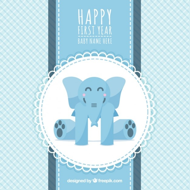 first birthday card with an elephant vector premium download