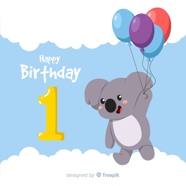 First birthday card Free Vector