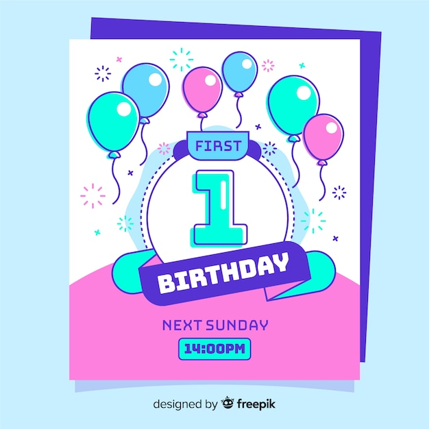 First Birthday Card Vector Free Download