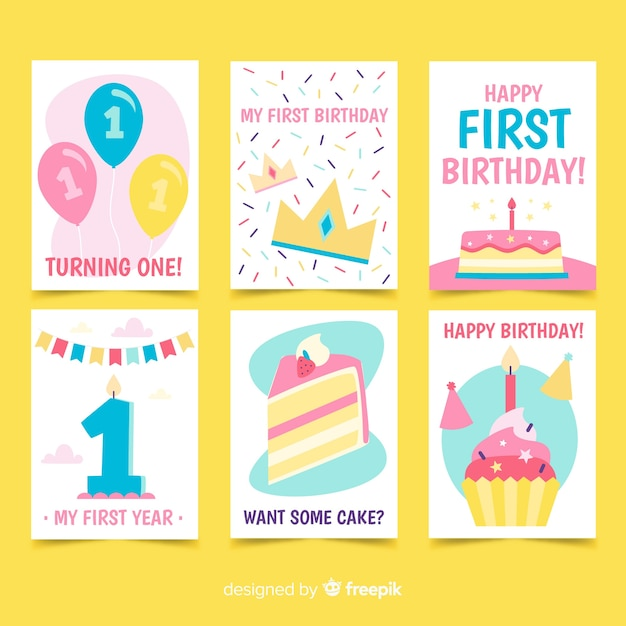 First Birthday Cards Collection Free Vector