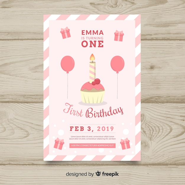 first birthday cupcake candle card template vector free download