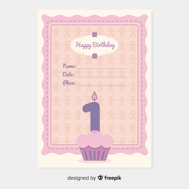 first birthday cupcake invitation vector free download