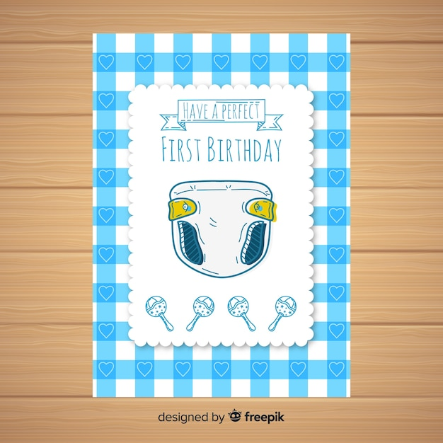 First birthday hand drawn diaper card template Free Vector