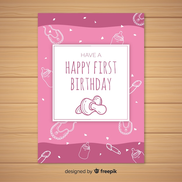 first birthday hand drawn pacifier card template vector free download
