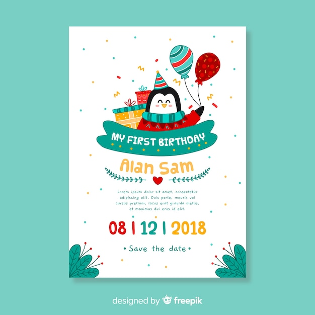 First birthday hand drawn penguin card template Free Vector