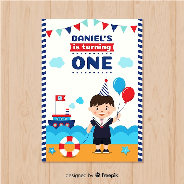 First Birthday Invitation Card With A Sail Theme Free Vector