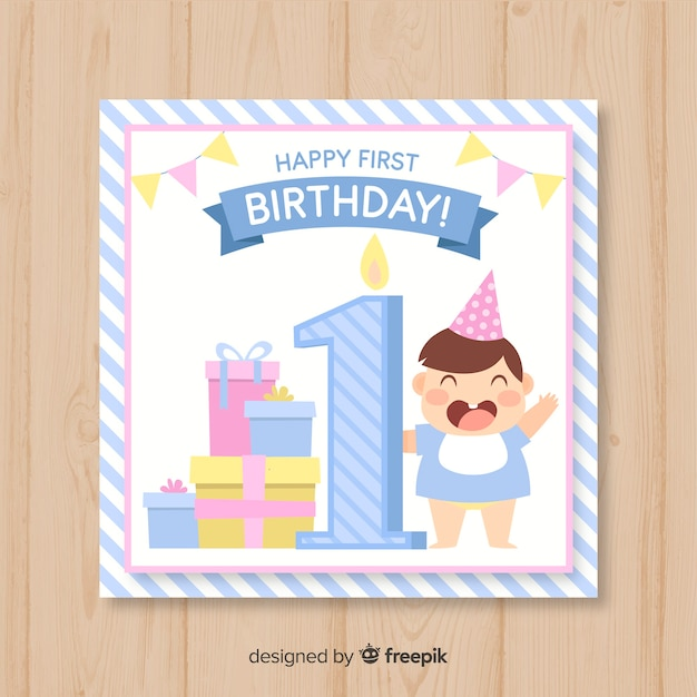 First Birthday Invitation Card Vector Free Download