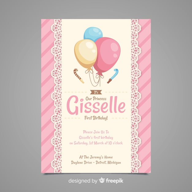 First birthday lace balloons invitation Free Vector