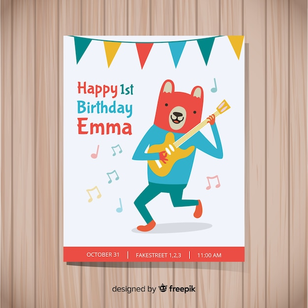 First birthday party card Free Vector