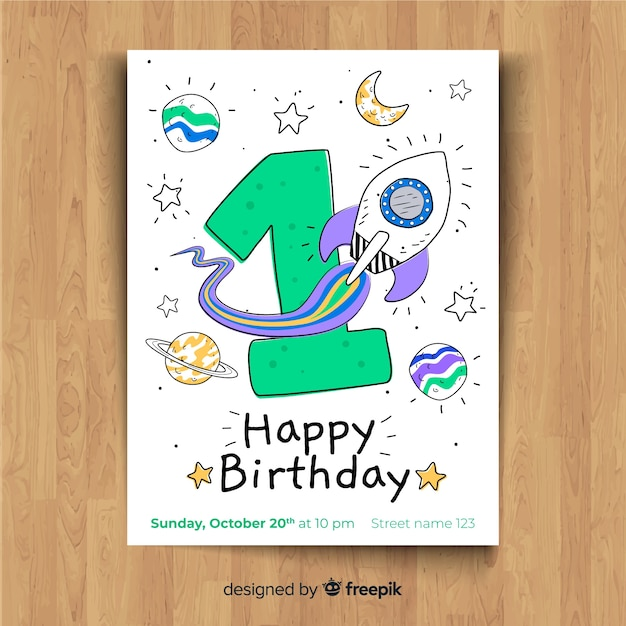 First birthday party invitation card Free Vector