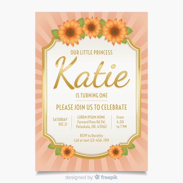 first birthday sunflowers card template vector free download