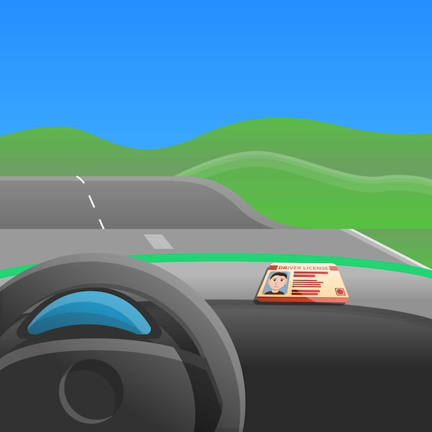 First car drive concept illustration, cartoon style Vector