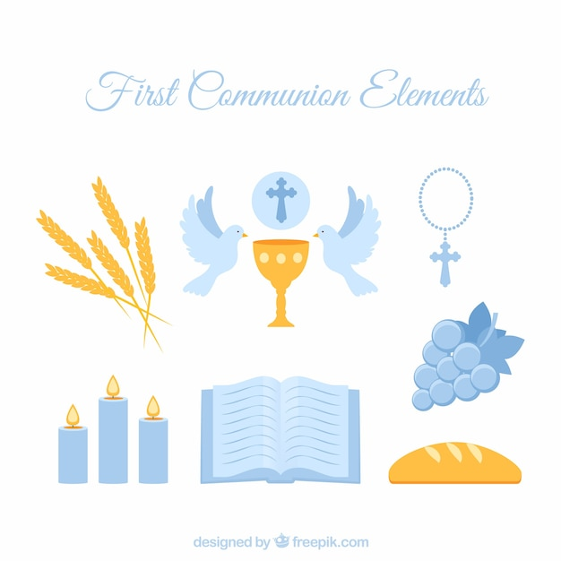 First communion blue elements Free Vector