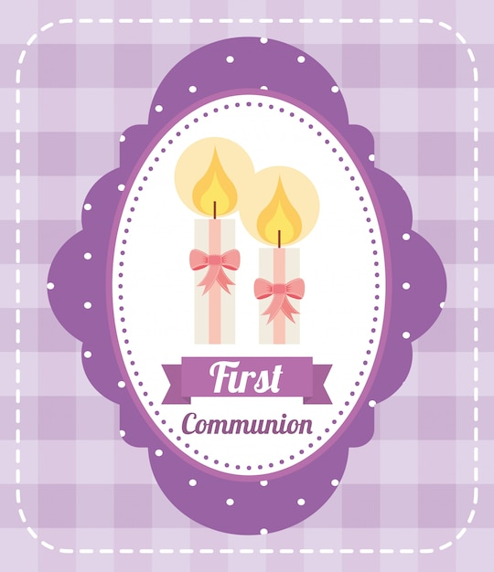 First communion card design Free Vector