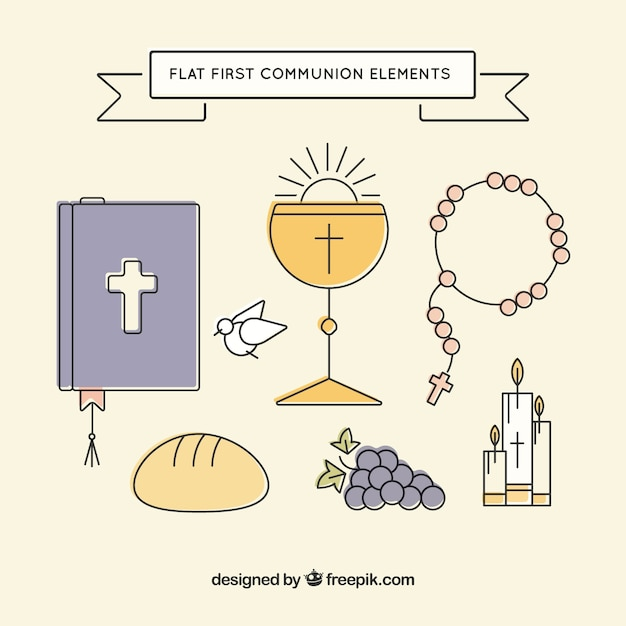 First communion collection with religious elements Free Vector