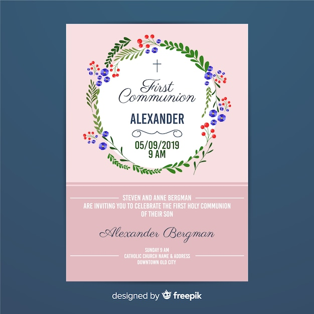 First communion floral wreath invitation Free Vector