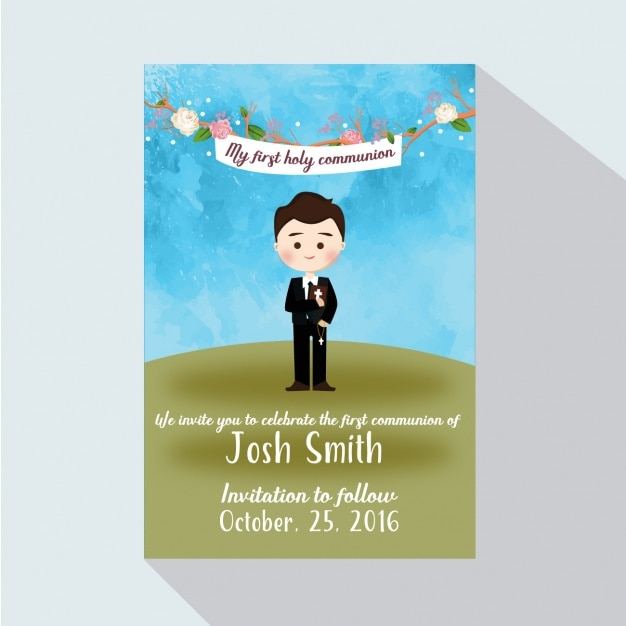 First communion invitation card Vector – First Communion Invitation Cards