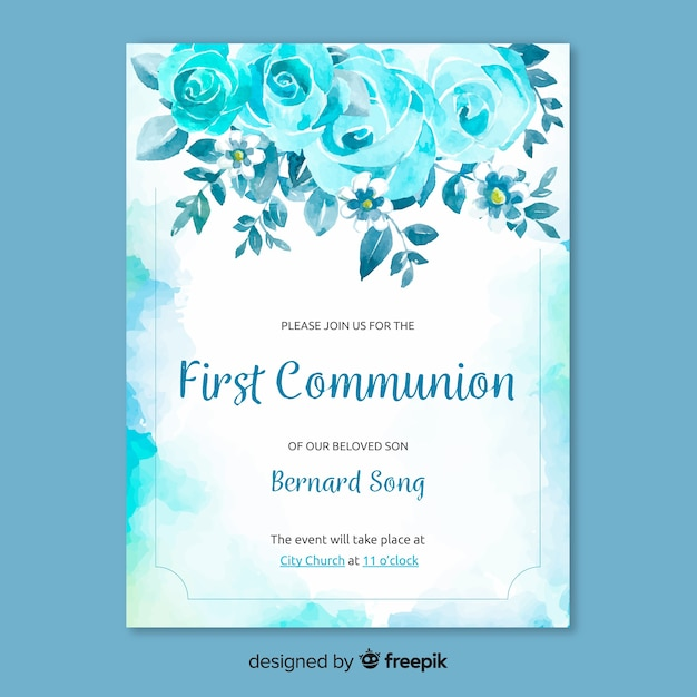 First communion invitation template Free Vector