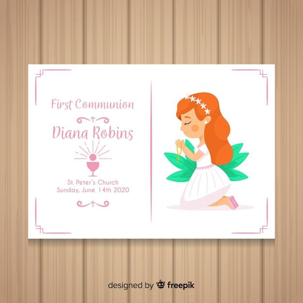 First communion invitation template Free Vector
