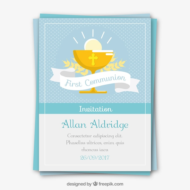 First communion invitation with chalice Free Vector