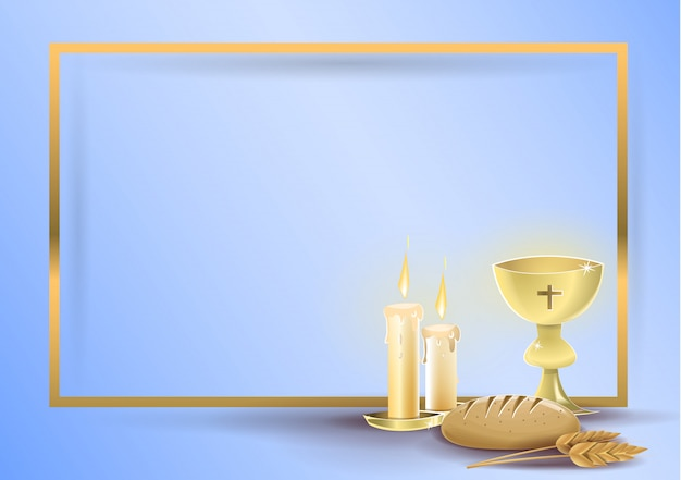 First communion religious invitation card vector premium download first communion religious invitation card premium vector stopboris Images