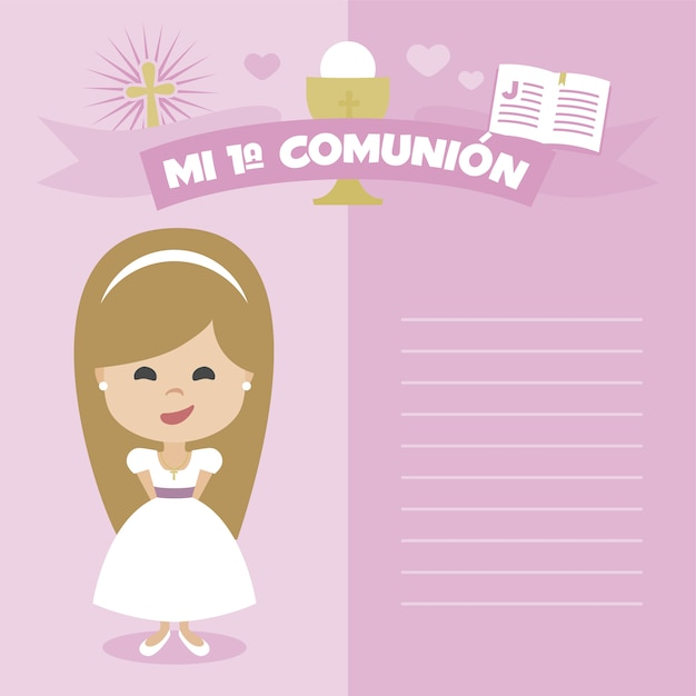 First communion reminder girl design