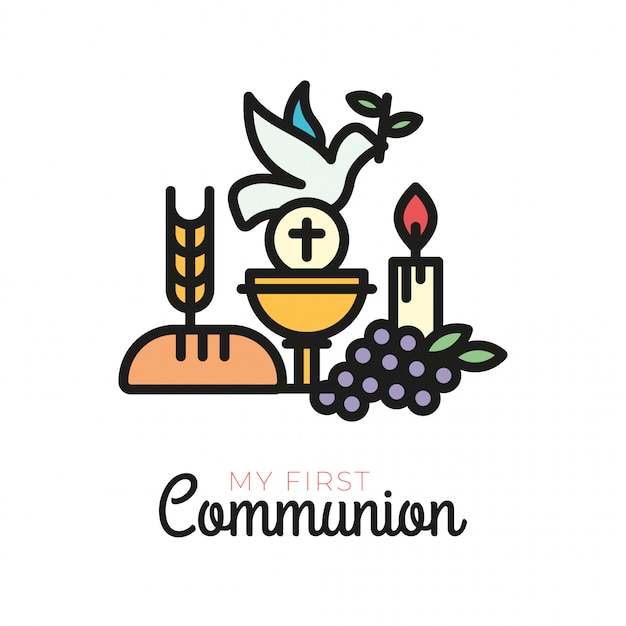 First Communion Symbols For A Nice Invitation Design Vector