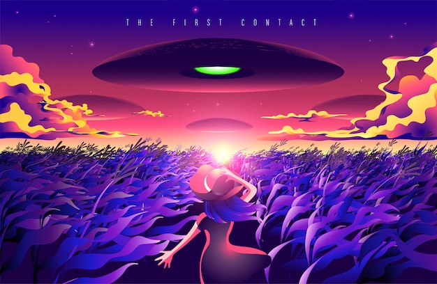The first contact Premium Vector