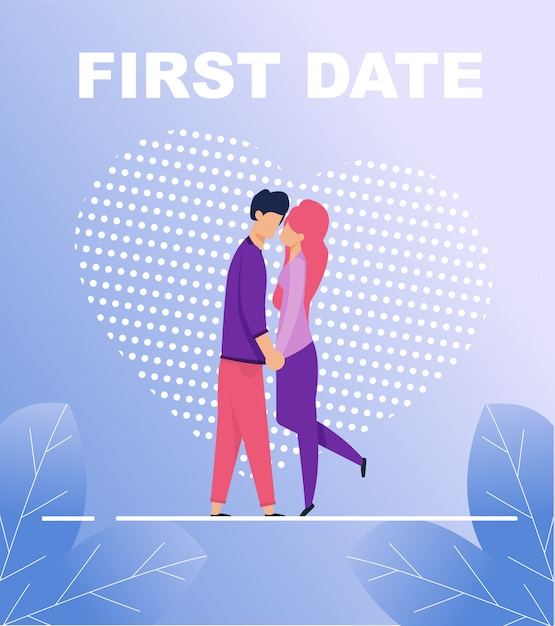First date poster with two kissing people in love Premium Vector