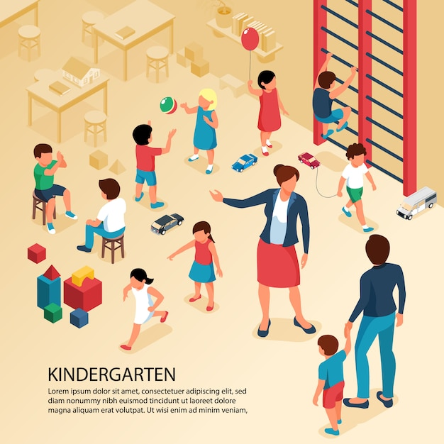 First day kindergarten activities isometric composition with teacher parent with child playing kids poster text Free Vector