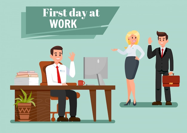 First day at work vector illustration with text Premium Vector