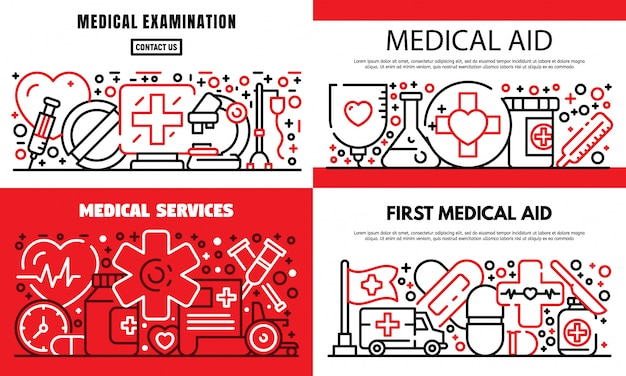 First medical aid banner set, outline style Premium Vector