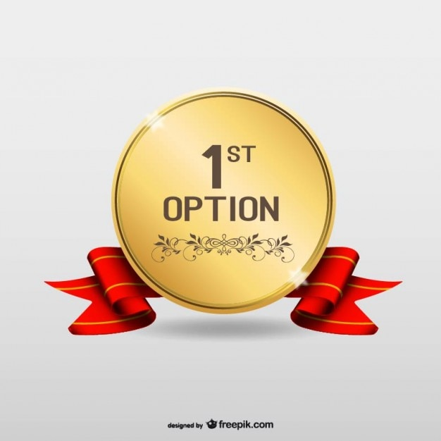 First option gold medal Free Vector