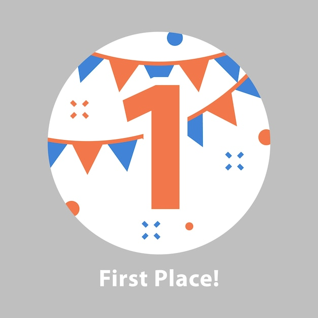 1 위, 시상식, 1 위, 축하 행사, 성공적인 성취, 보상 프로그램, 평면 일러스트레이션 프리미엄 벡터