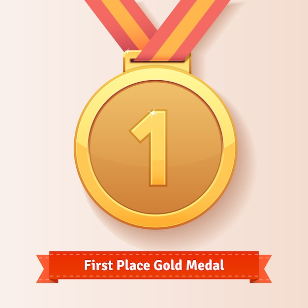 First place award gold medal with red ribbon Free Vector