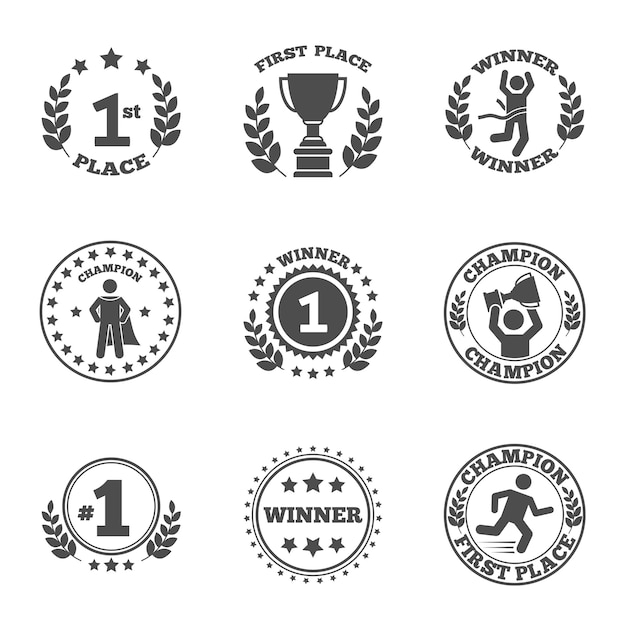 First place icons set Free Vector