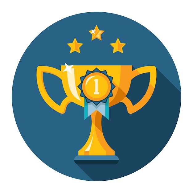 The first place trophy. gold winner cup flat icon. vector illustration Free Vector