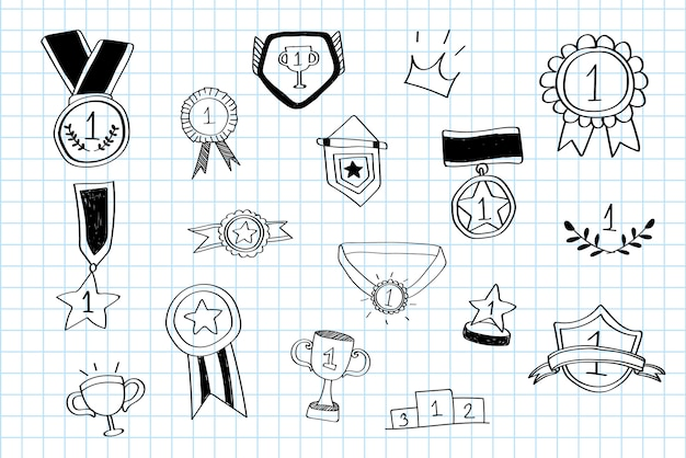 First place winner doodles collection vector Free Vector