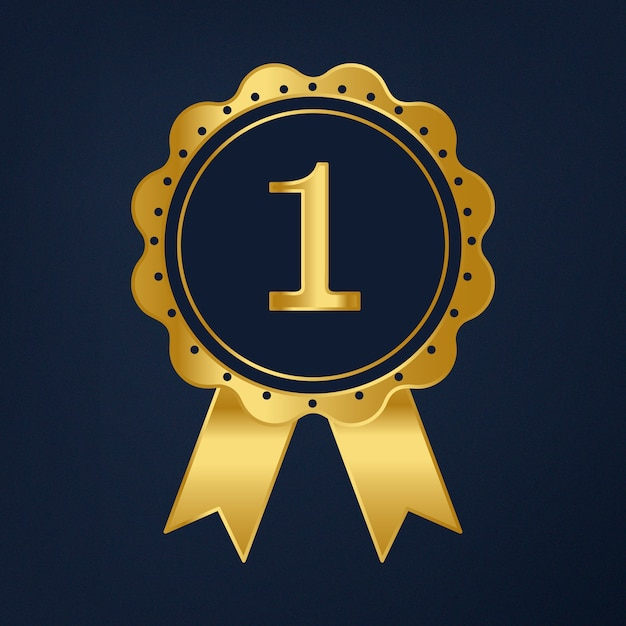 First prize ribbon award vector Free Vector