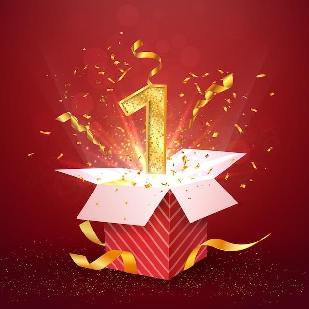 Годовщина первого года и открытая подарочная коробка с конфетти взрывов Premium векторы