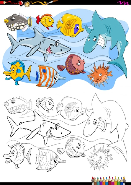 Fish animal characters group coloring book Premium Vector