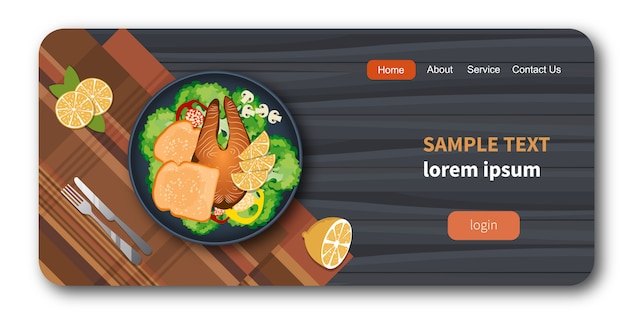 Fish and bread on a plate with healthy vegetables mock-up Premium Vector