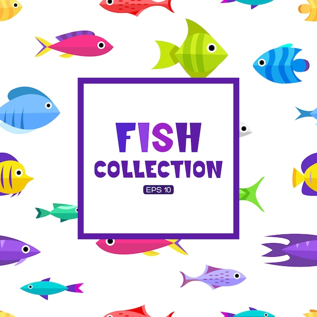 Fish collection. cartoon style. illustration of different fish Free Vector