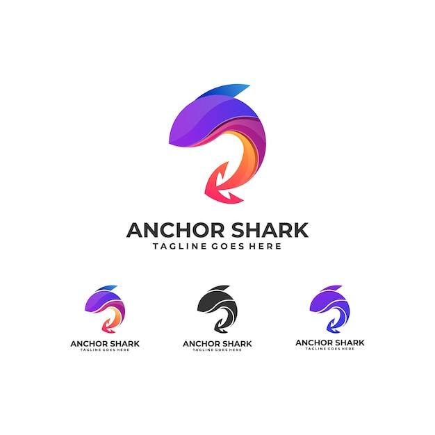 Fish colorful with anchor design logo Premium Vector