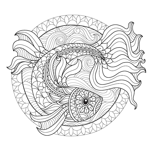 Fish coloring page for adults Premium Vector