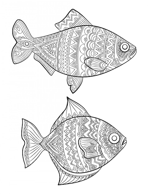 - Premium Vector Fish Coloring Pages. Fashion Drawing Ocean Animals  Drawings For Adults Books Linear Art Line