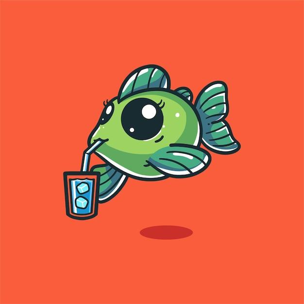 Рыба пить воду со льдом Premium векторы