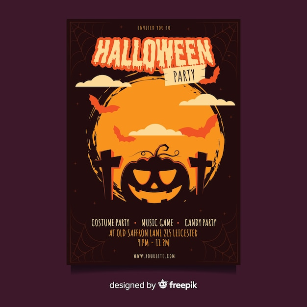 Fish eye shot of curved pumpkin halloween party poster Free Vector