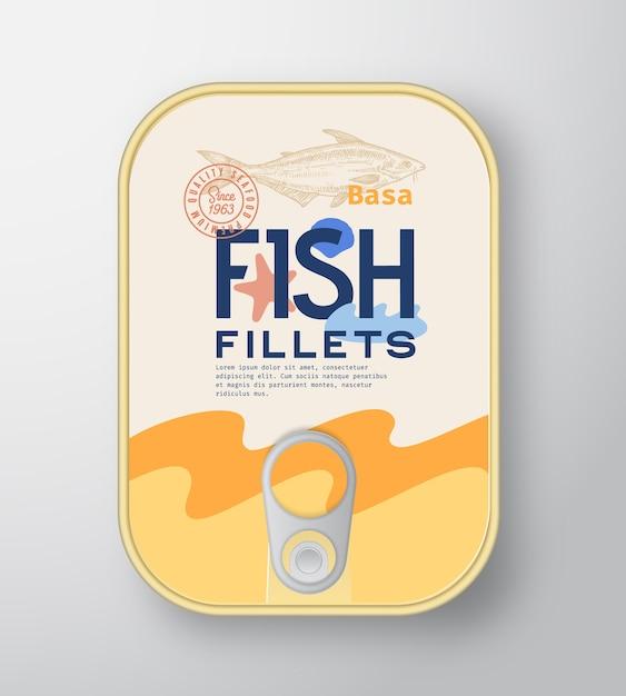 魚の切り身アルミ容器包装モックアップ Premiumベクター